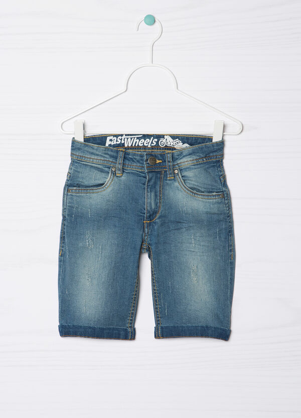 Used-effect stretch denim Bermuda shorts | OVS