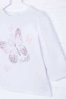T-shirt cotone stretch con strass, Bianco, hi-res