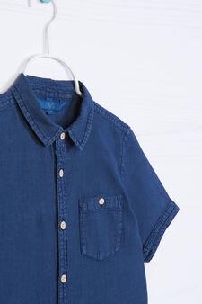 Camicia lino cotone tinta unita, Blu navy, hi-res