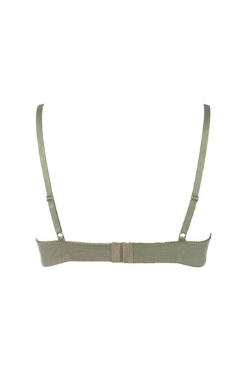 Two-pack solid colour padded bras, Army Green, hi-res
