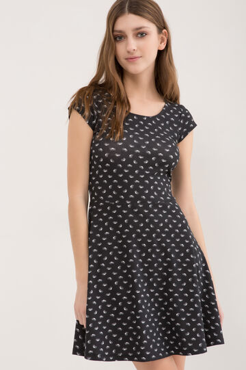 Stretch polka dot dress, Black, hi-res