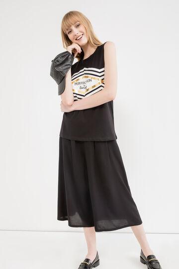 Long 100% cotton top with print, Black, hi-res