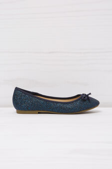 Ballerina flat with round glitter toe, Blue, hi-res