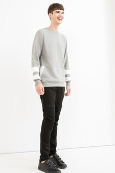 Solid colour round neck sweatshirt in cotton blend., Grey, hi-res
