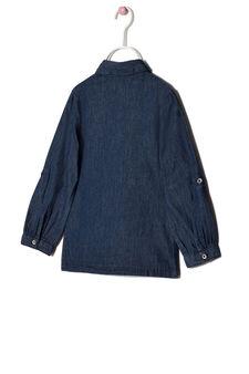 Chambray shirt with frills, Blue, hi-res