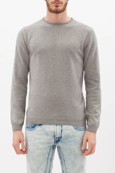 Crew neck pullover in silk and cashmere., Light Grey, hi-res