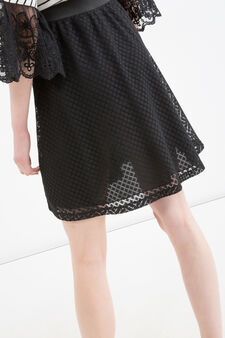 Solid colour lace skirt, Black, hi-res