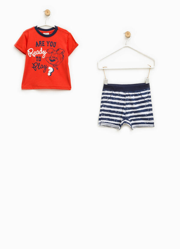 Striped cotton T-shirt and shorts set | OVS