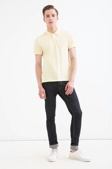 Solid colour polo shirt, Canary Yellow, hi-res
