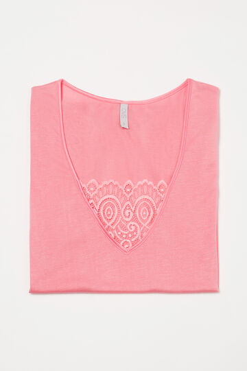 Pyjama top with lace insert, Coral Pink, hi-res