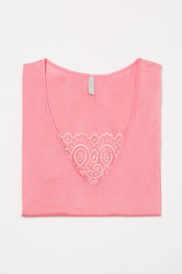 Maglia pigiama con inserto pizzo, Rosa corallo, hi-res