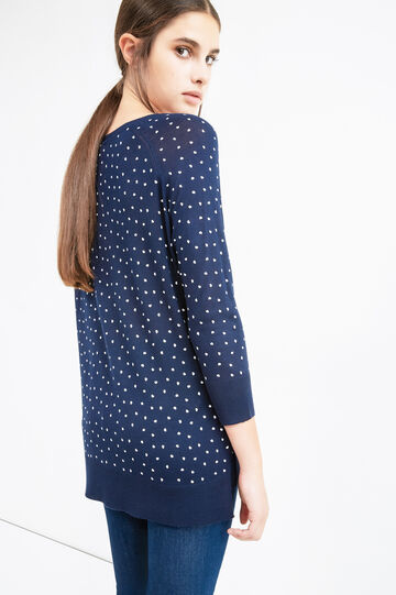 Viscose pullover with all-over heart print, White/Blue, hi-res