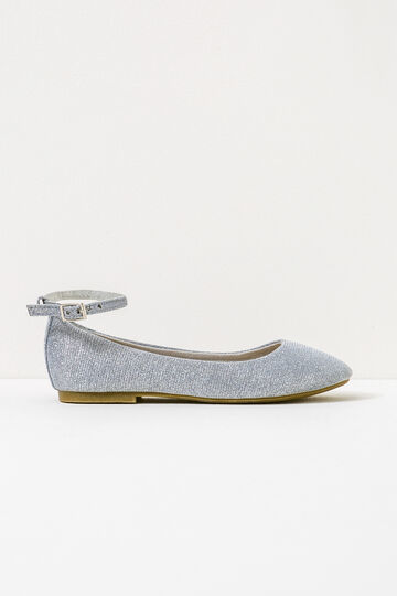 Ballerina flats with glitter and strap, Grey/Silver, hi-res