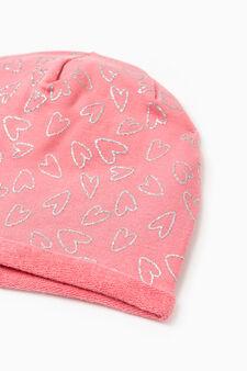 Heart-pattern beanie cap, Fuchsia, hi-res