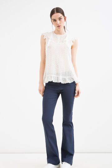 Blusa pura viscosa con volants, Bianco, hi-res