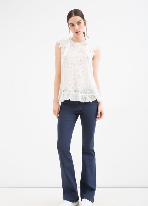 100% viscose blouse with flounces | OVS