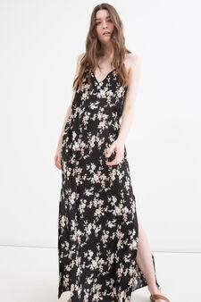 100% viscose long dress, Black, hi-res