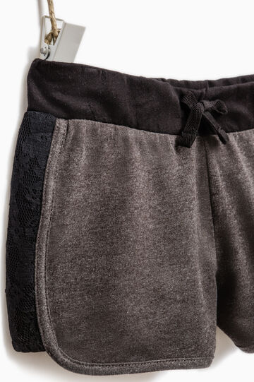 Shorts in 100% cotton with lace, Dark Grey, hi-res
