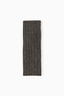 Ribbed long socks in cotton blend, Grey Marl, hi-res