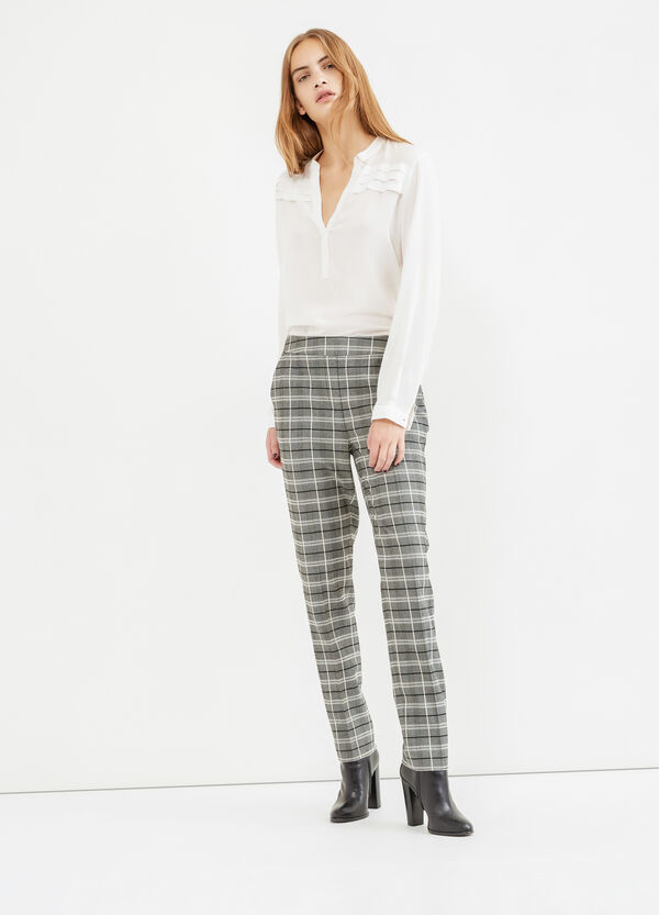 High-waisted check trousers | OVS