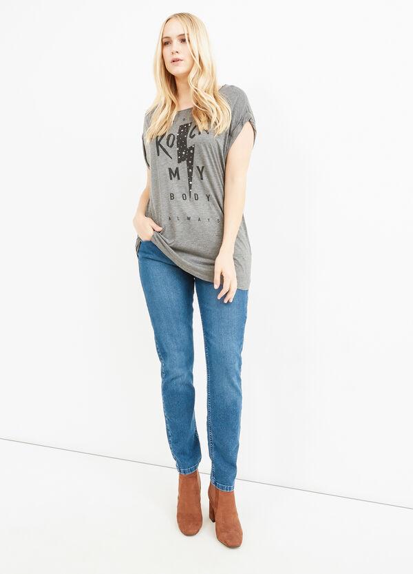 Camiseta Curvy en viscosa 100% estampada | OVS