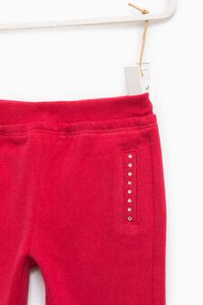 Joggers with diamanté pocket trim, Red, hi-res