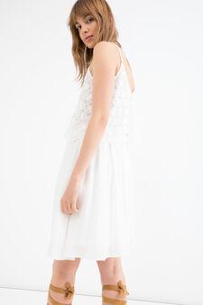 100% viscose dress with openwork insert, White, hi-res