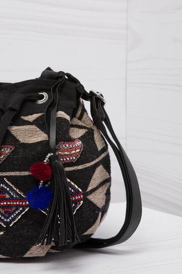 Ethnic pattern shoulder bag, Black, hi-res