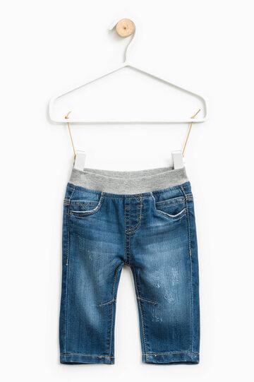 Jeans effetto used con vita elasticata, Lavaggio medio, hi-res