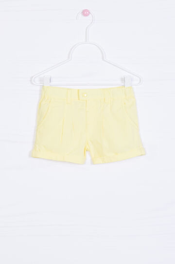 100% cotton pleated shorts, Yellow, hi-res