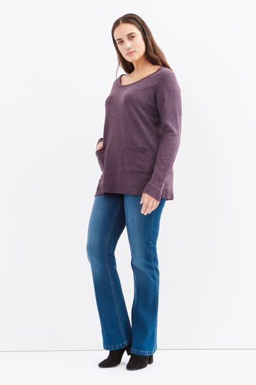 Curvy solid colour pullover with pockets, Purple, hi-res