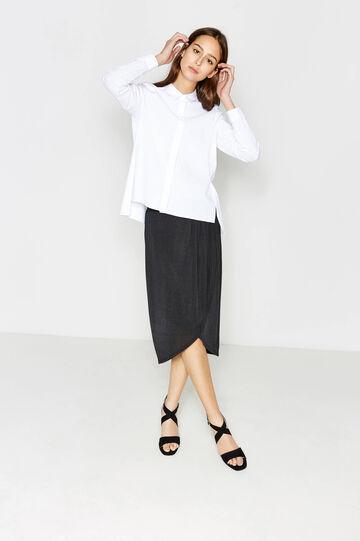 Falda midi en punto elástico, Negro, hi-res