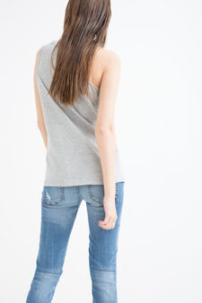 100% cotton top with print and sequins, Grey, hi-res