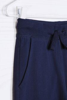 Solid colour 100% cotton joggers, Blue, hi-res