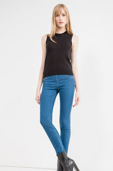 Stretch jeggings with high waist, Medium Wash, hi-res