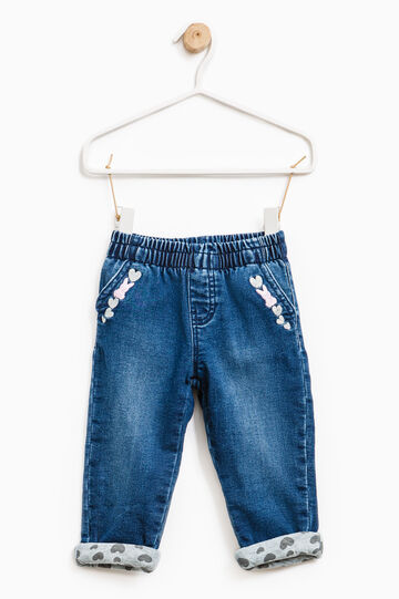 Jeans with embroidery and heart print, Denim, hi-res