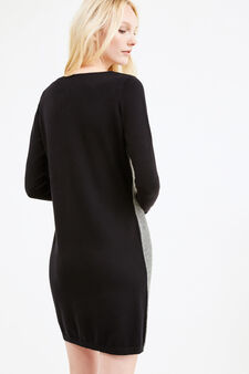 Long-sleeved stretch cotton dress, Black/White, hi-res
