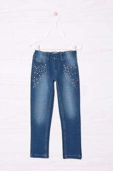 Diamanté stretch jeggings, Blue, hi-res