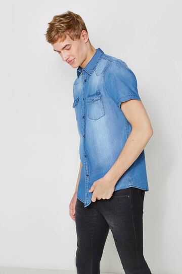 Casual denim shirt with faded effect, Blue, hi-res