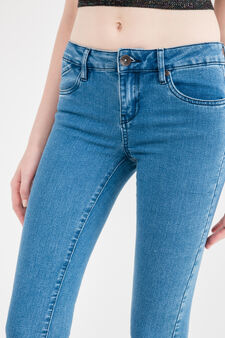 Slim-fit stretch jeans with zip, Medium Wash, hi-res