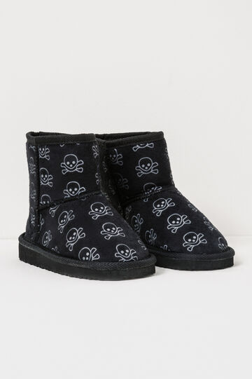 Canvas ankle boots with skull pattern, Black, hi-res