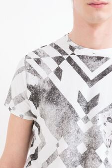 Patterned cotton T-shirt, White/Black, hi-res