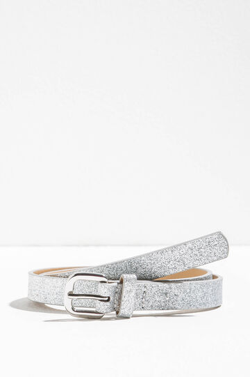 Glitter belt with polished buckle