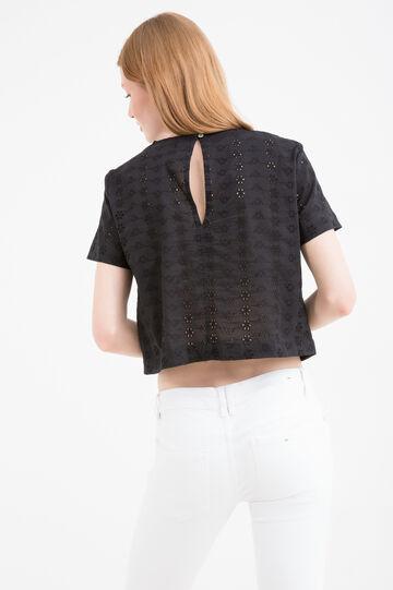 Solid colour cotton crop T-shirt, Black, hi-res