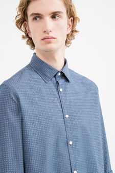 Slim-fit cotton casual shirt with yoke, Blue, hi-res