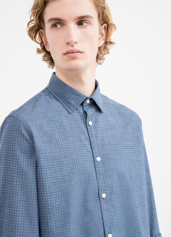 Slim-fit cotton casual shirt with yoke | OVS