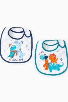 Two-pack bibs with dinosaur print, Multicolour, hi-res