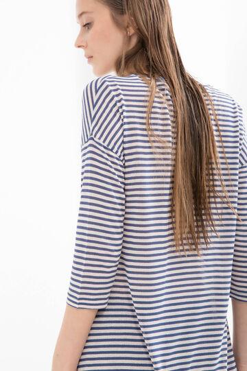 T-shirt lunga pura viscosa righe, Blu/Rosa, hi-res