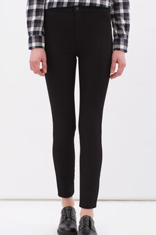 Pantaloni misto cotone stretch, Nero, hi-res