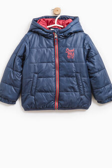 Down jacket with printed lettering, Blue/Red, hi-res